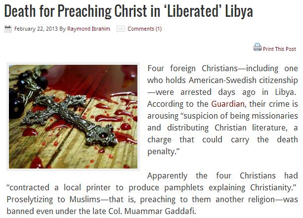 christians arrested in libya for prosyltizing 22.2.2013