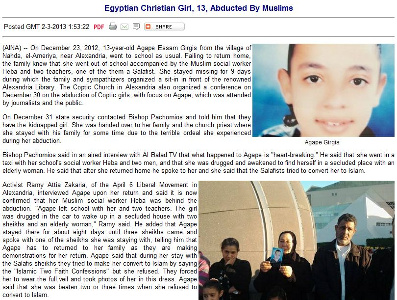 egyptian christian girl abducted by muslims trying to convert her 7.2.2013
