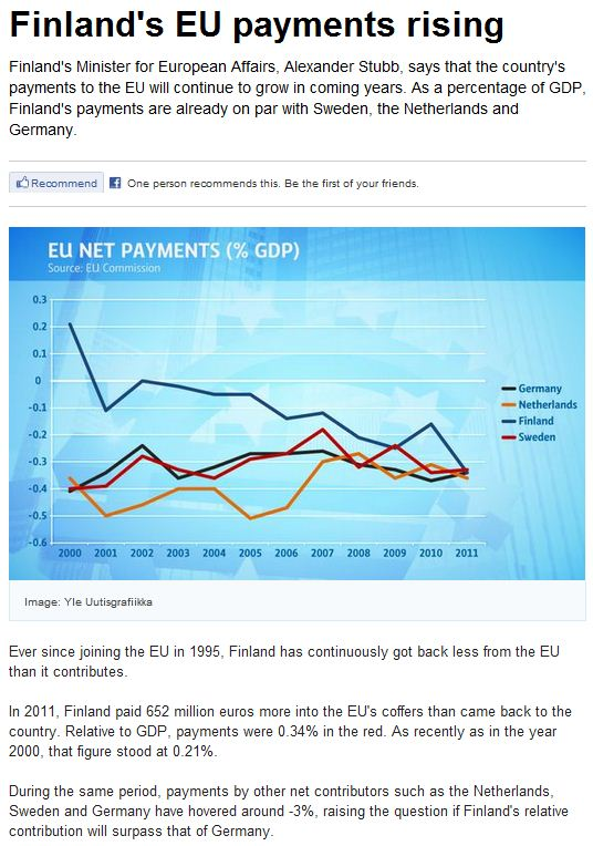 finland payment to eu rising-paying more than it recieves to EU 7.2.2013