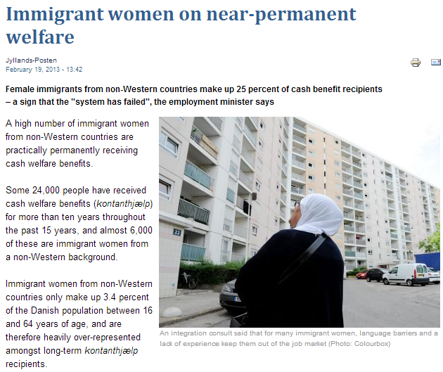 immigrant women in denmark on near-permanent welfare benefits 21.2.2013