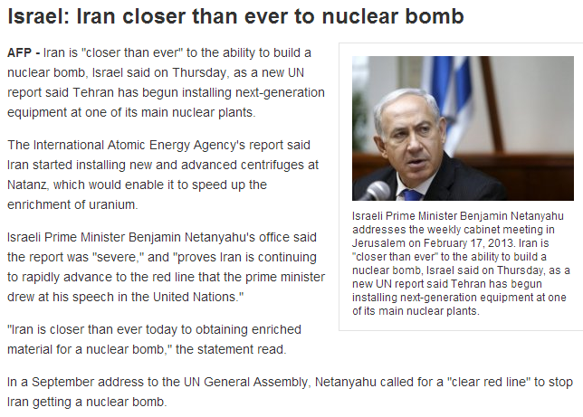 israel says iran now more close to nukes than ever 22.2.2013