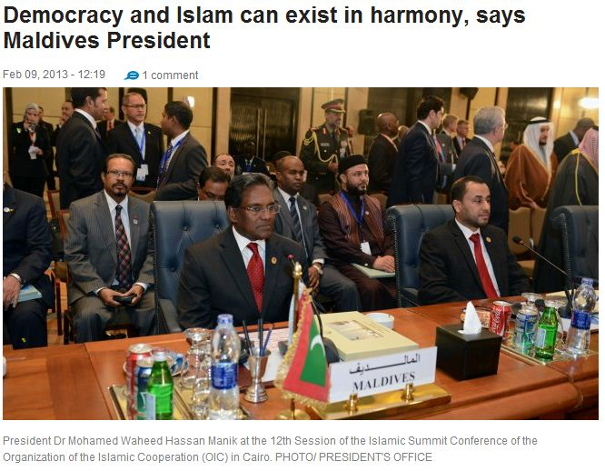 maldives pres says islam and democracy are compaible 9.2.2013