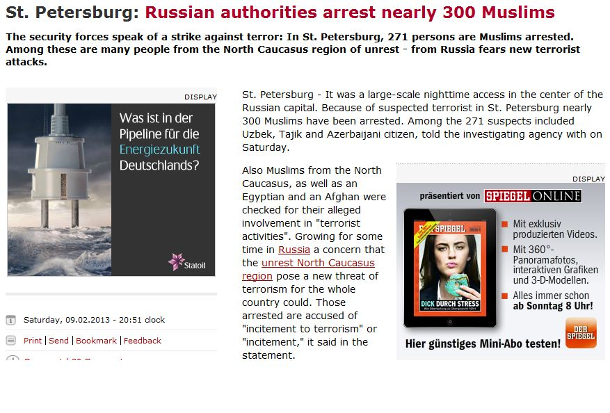russia mass arrest of muslims suspected of terrorism 11.2.2013