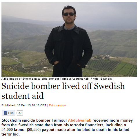 sweden suicide bomber lived off student aid 19.2.2013