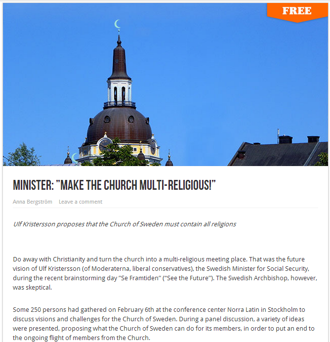 swedish politician wants to turn church multi-religious 22.2.2013