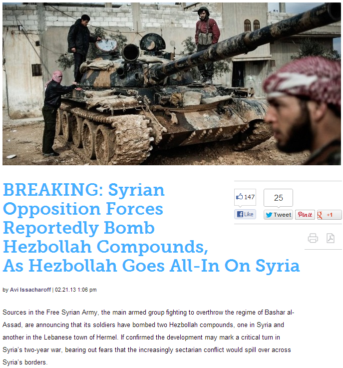 syrian terrorist rebels fighting heznazis 22.2.2013