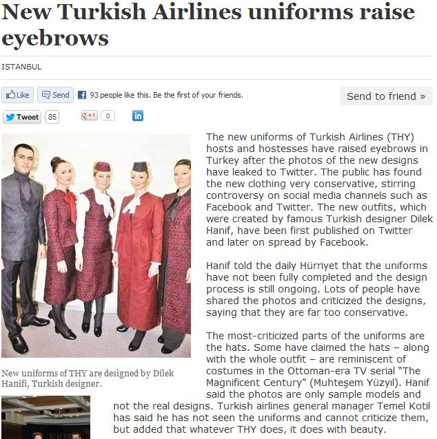 turk airlines new uniforms 13.2.2013