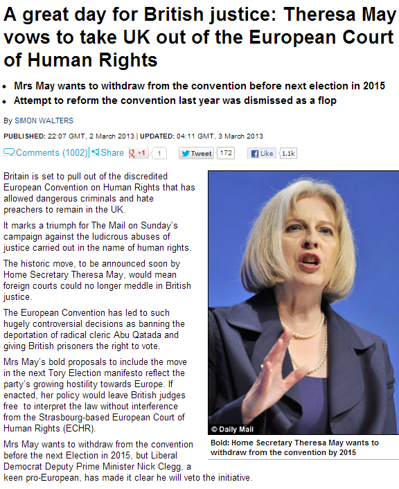 HOME SEC WILL TRY TO REMOVE UK FROM EURO HUMAN RIGHTS COURT 3.3.3013