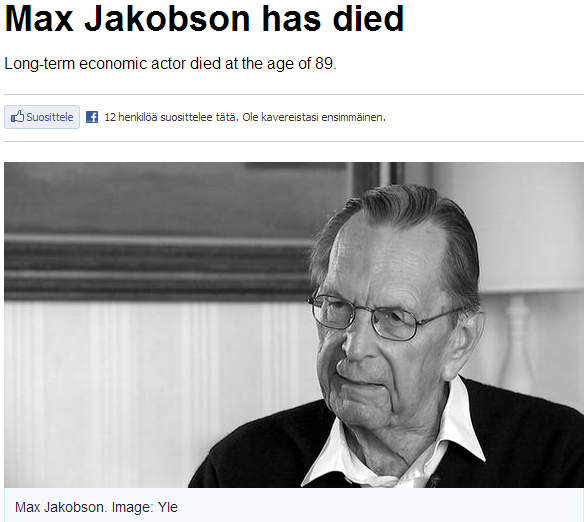 Max Jakobson has died 11.3.2013