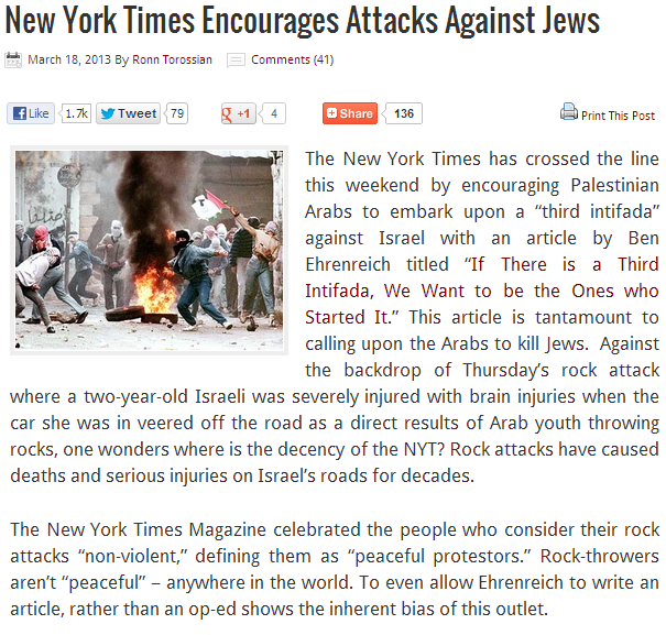 NYT encourages terror against Jews 19.3.2013