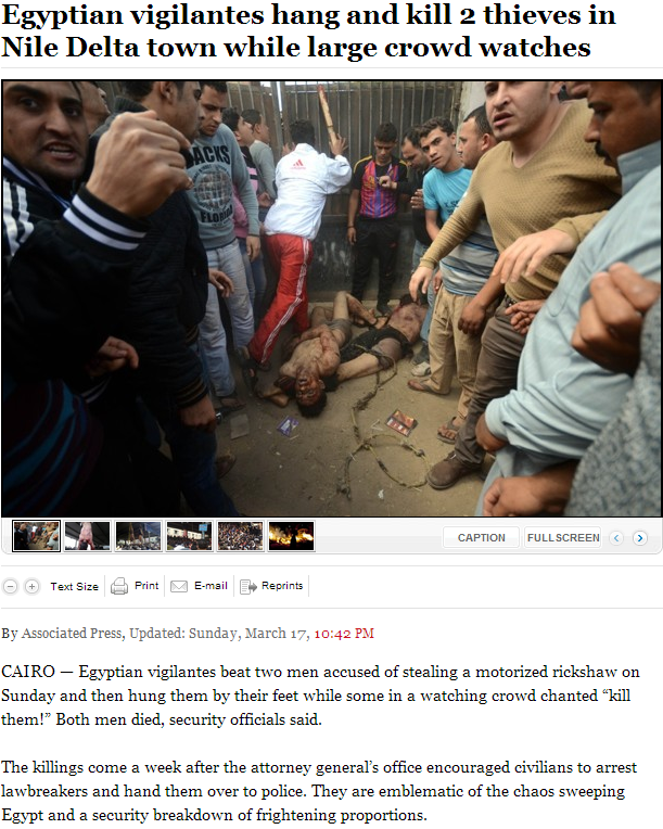 VIGILANTISM IN EGYPT 17.3.2013