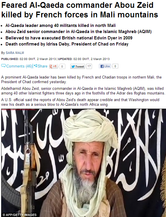 al-qaida cpmmander abou Zeid nailed by the miltary wing of the French government 3.3.2013