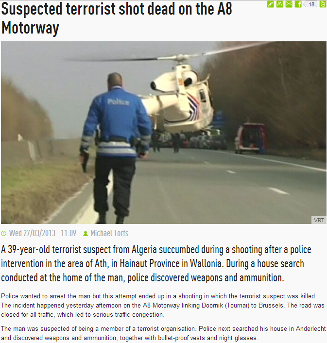 algerian terrorist shot dead in belgium 27.3.2013