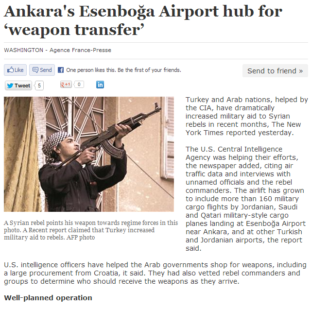 ankara capital of jihadi weapons transfer 26.3.2013