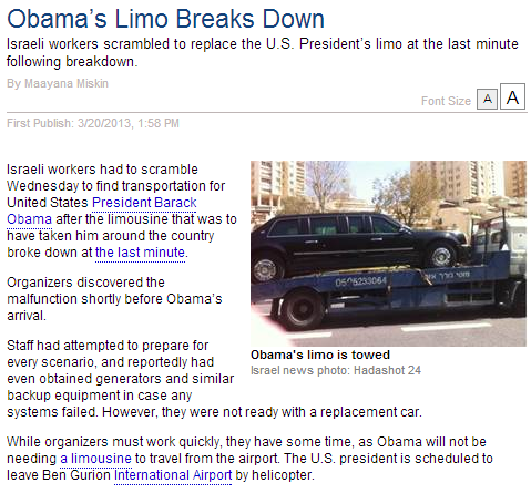 breaking obama's limo