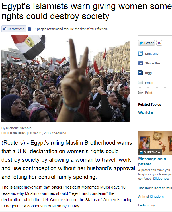 egypt muslim warn against giving women some rights 15.3.2013