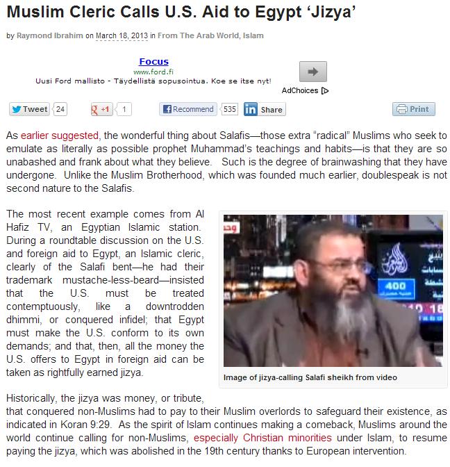 egypt sheikh calls us aid jizya
