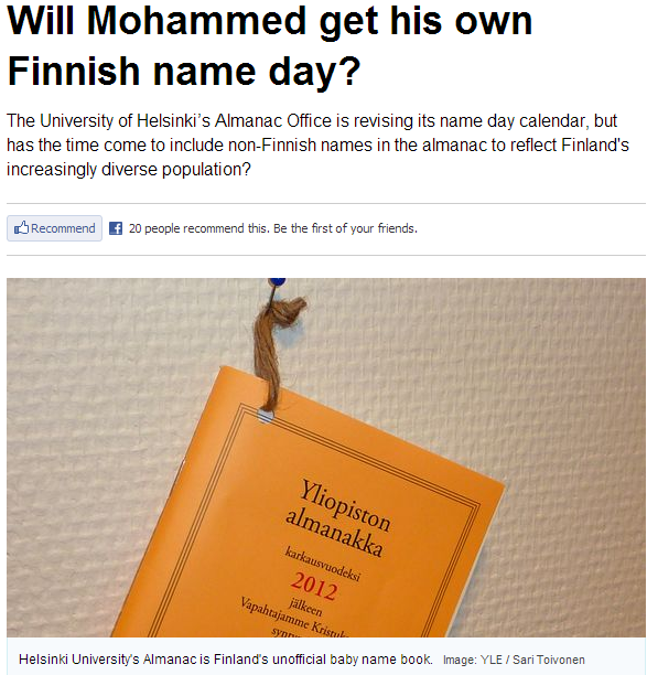 finland mohamed name day