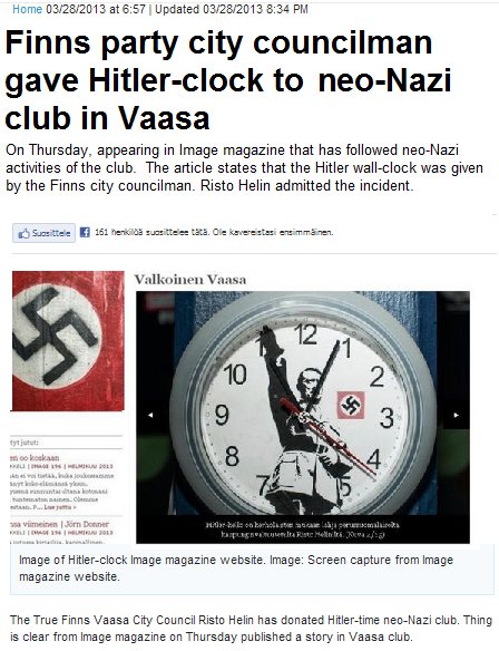 finns party ombudsman donated hitler clock 28.3.2013