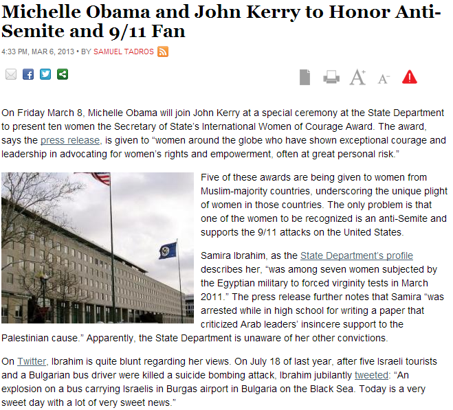 first lady anf sec-state to honor out spoken anti-semite 7.3.2013