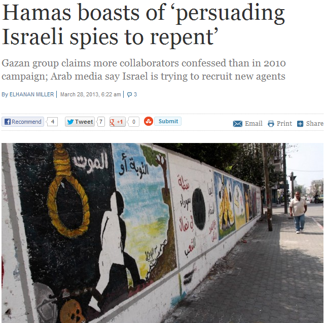 hamas boasts confessions from collaborators up from 2010 28.3.2013