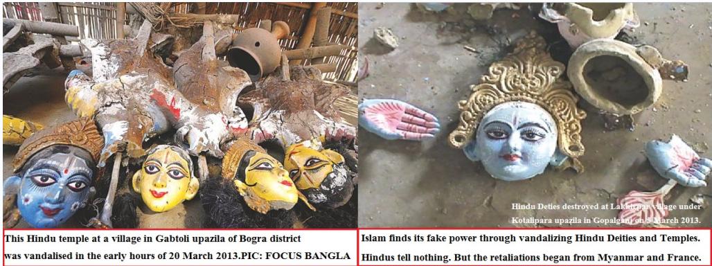 hindu temples vandalized 24.3.2013
