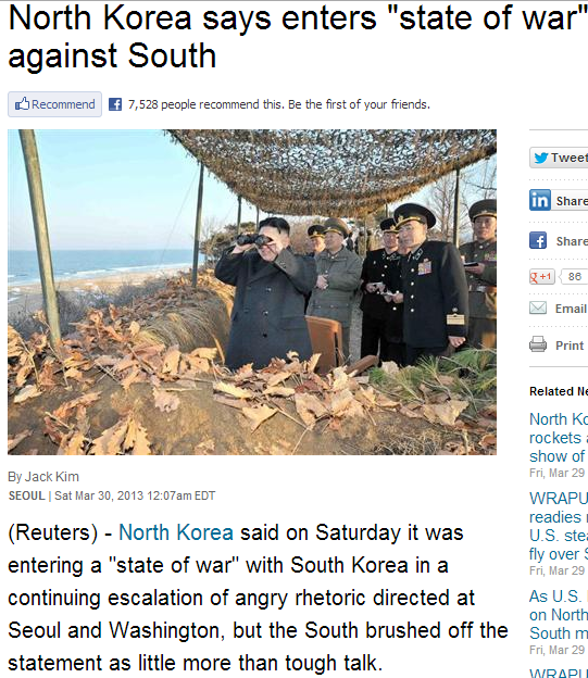 norks threaten south with war 30.3.2013