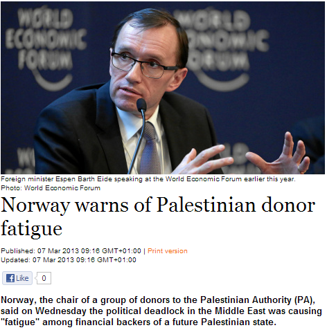 norway warns of donor fatigue 7.3.2013
