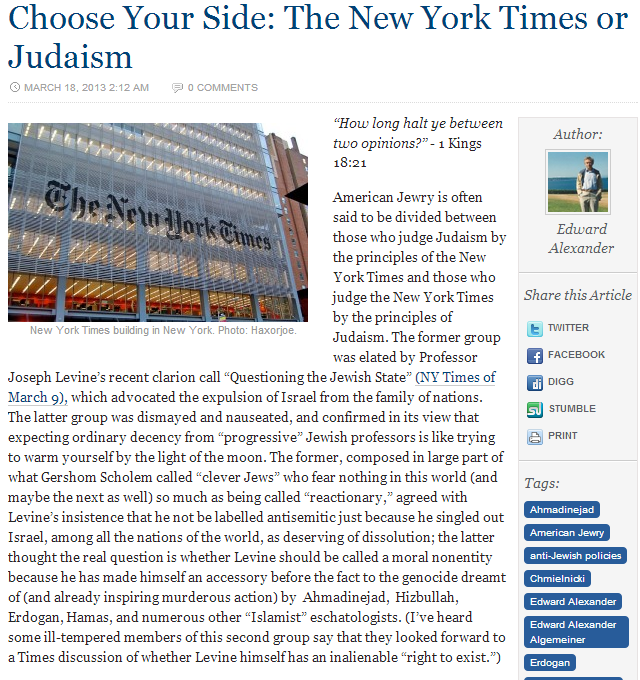 nyt trashes israel time to choose 18.3.2013