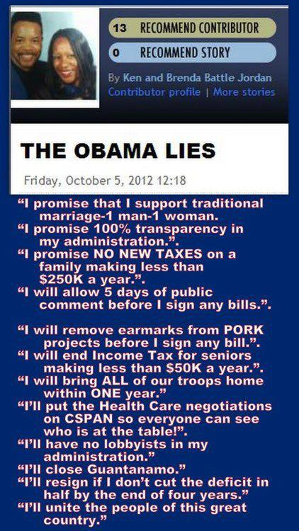 obama lies over first term