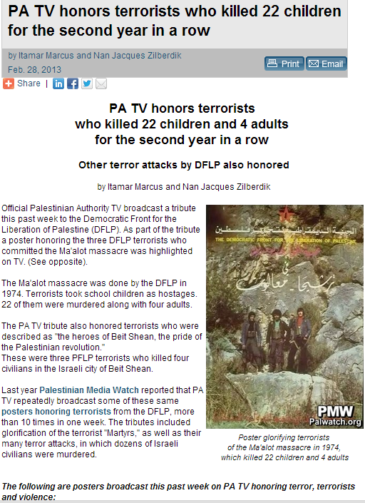 pa tv once again honors the terrorists who murdered 22 israelis second year in a row 1.3.2013
