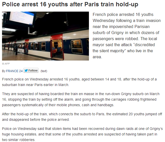 police arrest 16 youths for train robbery 29.3.2013