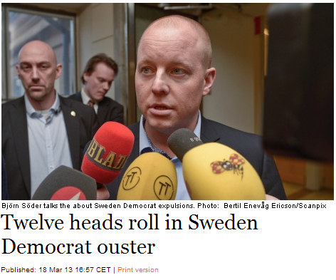 sweden democrats oust 12 for ties to neo-nazis 19.3.2013