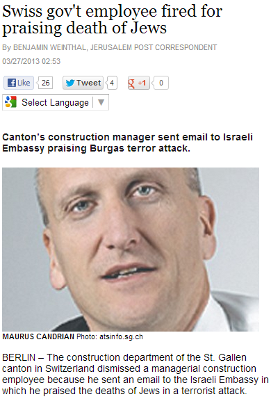 swiss canton construction manager sent email to israeli embassy praising burgas terror attack 27.3.2013