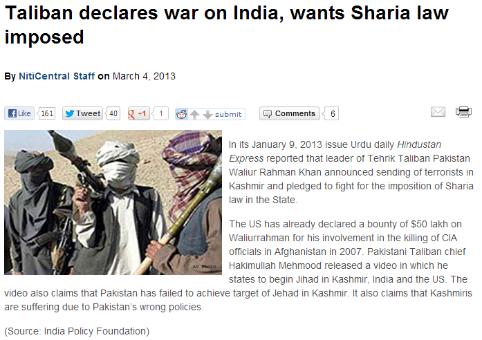 talitards declare war on india 10.3.2013