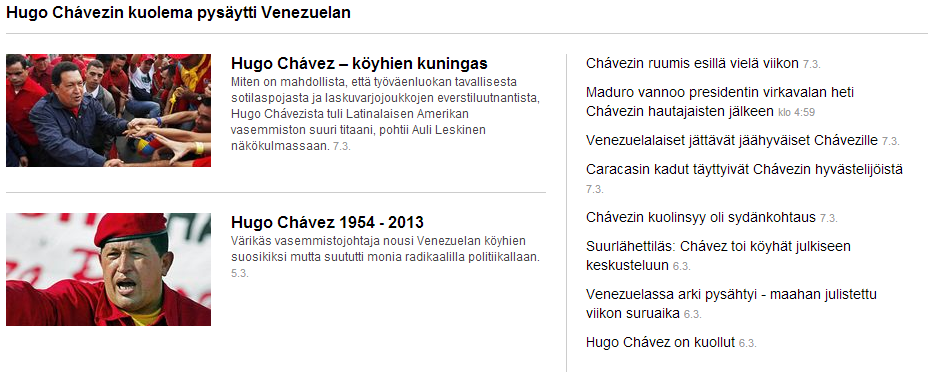 yle in mourning over chavez death