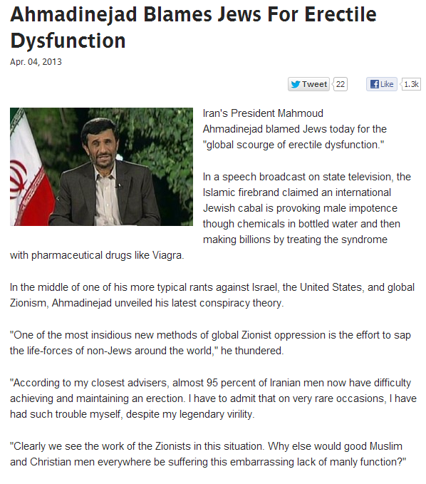 Ahmadinejad blames jews for erectile dysfunction 6.4.2013