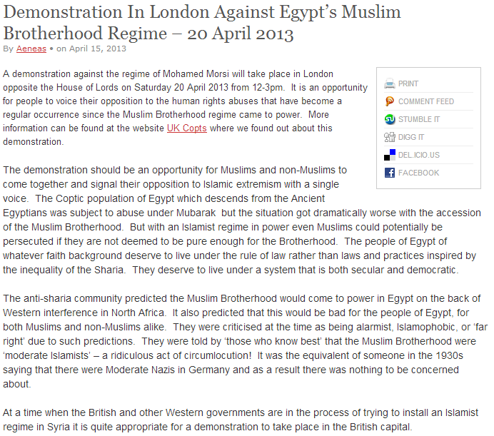 DEMO AGAINST THE EGYPTIAN MB IN LON DON 15.4.2013