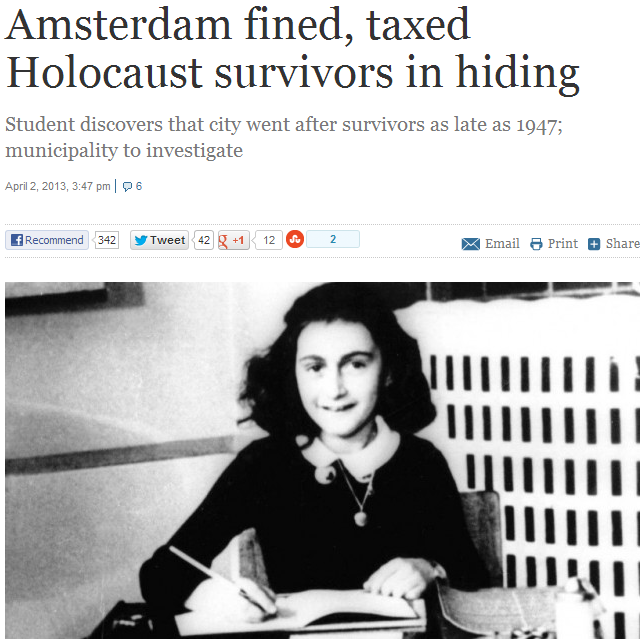 DUTCH JEWS FINED FOR TAX EVASION FOR TIME SPENT IN NAZI DEATH CAMPS 3.4.2013