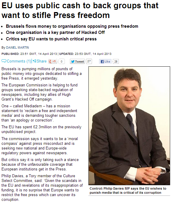 EU POURING TAXPAYER MONEY INTO STIFLING FREE SPEECH 15.4.2013