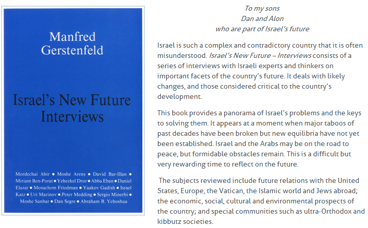 M.Gerstenfeld Israel's new Future Interviews 15.4.2013