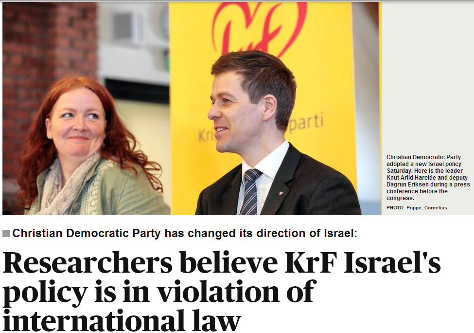 Norwegian christian democrat party policy towards israel condemend by anti-israel politicians 28.4.2013