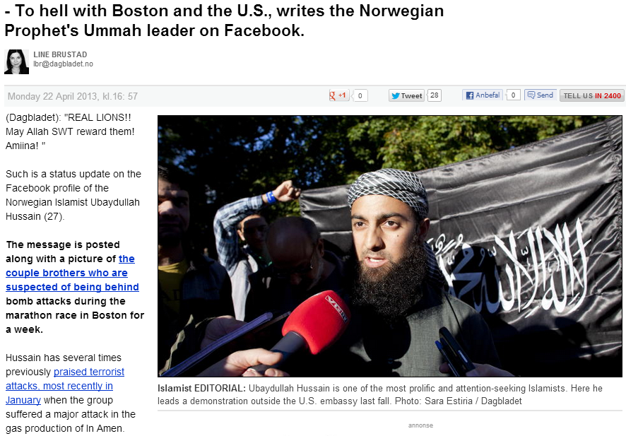 Norwegian jihadi posts boston murderers on FB, praises them 25.4.2013