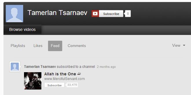 Tamerlan Tsarnaev YT page