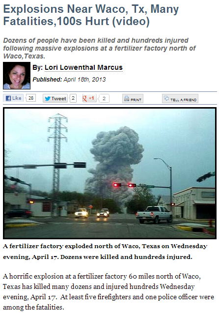 WACO FERTILIZER PLANT DISASTER 18.4.2013