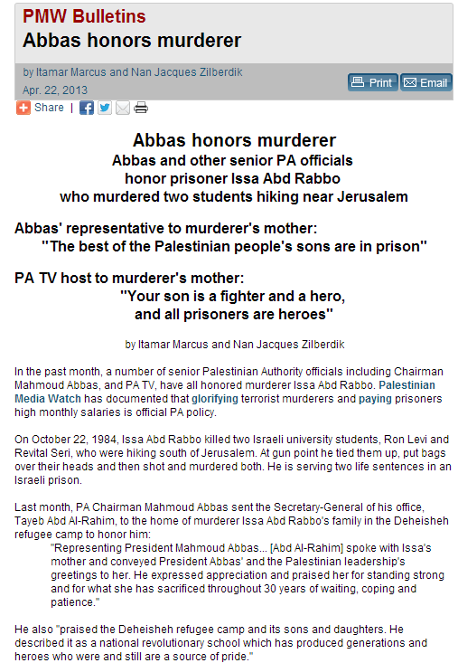 abbas again honors terrorists with blood on their hands 22.4.2013
