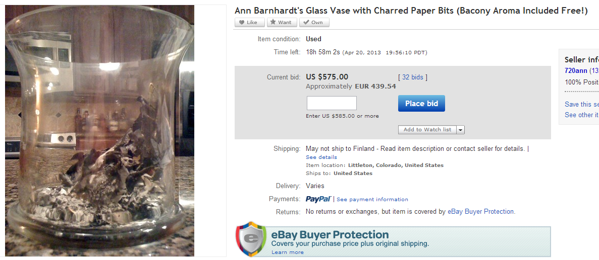ann barnhardt sells glass with burnt koran ashes in it 20.4.2013