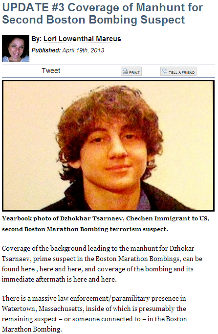 boston bombing lori lowenthal marcus update 19.4.2013