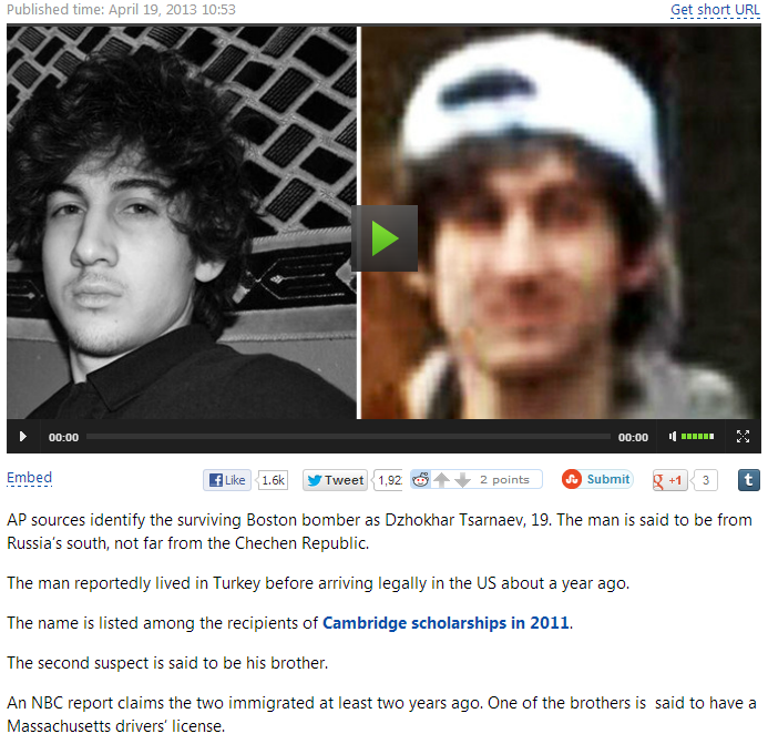 boston marathon murderer not chechen 19.4.2013