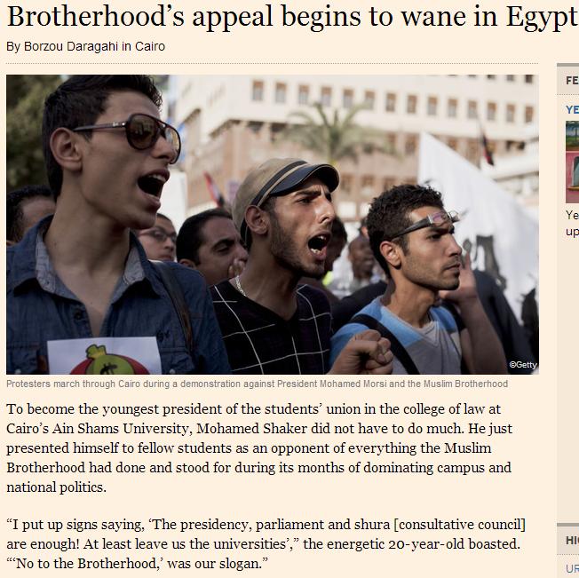 brotherhood popularity waining in egypt 11.4.2013